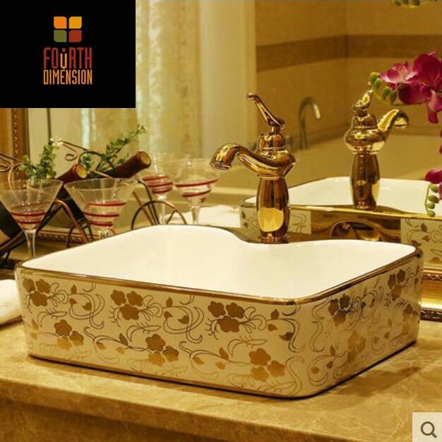 Golden Flowers Rectangular Countertop Ceramic Bathroom ...