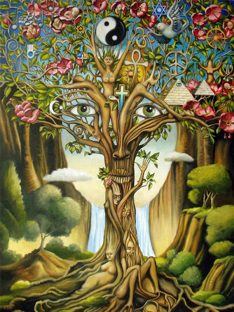 Psychedelic Trippy Tree Nice Home Decor Silk Poster Art Bedroom Decoration  1654