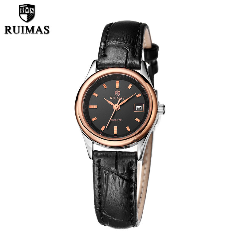 RUIMAS Original Women Quartz Watches Fashion Genuine Leather Ladies Wristwatches Clock Relogio Feminino Montre Femme for Lover ruimas leather women watches fashion luxury ladies quartz watch clock relogio feminino montre femme lover watch for girl