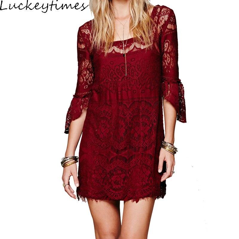 Luckeytimes 2017 Summer Boho Women Eyelash Lace Dresses Sheer Crochet Mini Bell-shaped Sleeves Chic Female Dresses With Lining