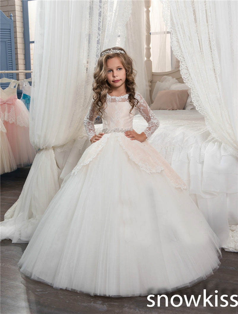 купить White/ivory first communion dresses for girls with lace appliques long sleeve ball gown kids pageant prom dresses with bow онлайн