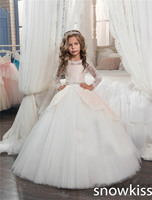 White First Communion Dresses For Girls With Lace Appliques Long Sleeve Bow Sheer Back Ball Gown