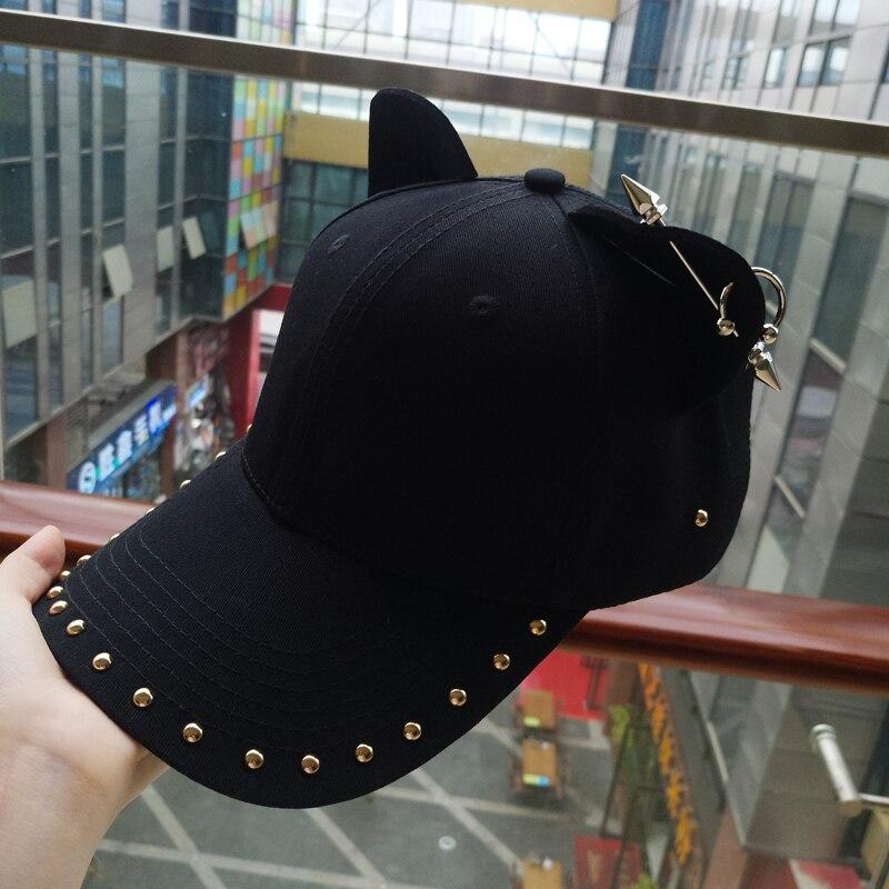 metal baseball cap female cotton equestrian cap ears 3