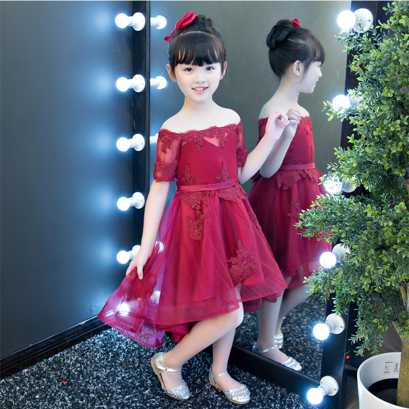 New High Quality Children Girls Red Color Shoulderless Princess Dress Kids Birthday Wedding Party Mesh Dress School Player Dress new high quality children girls blue princess lace party dress wedding birthday dress with layers mesh tail kids costume dress