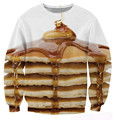 Pancake Stack Crewneck Sweatshirt Women Men Sexy Sweats delicious helping of syrup butter jumper Fashion 3d hoodies Clothing
