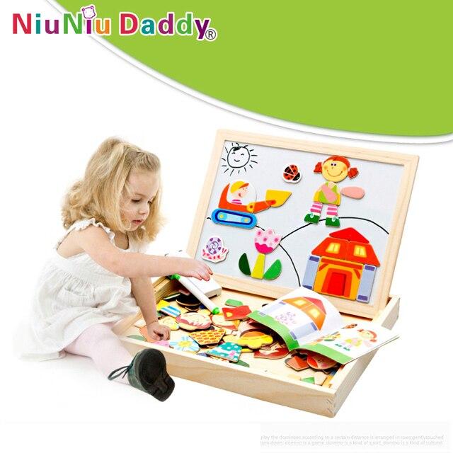 Деревянная игрушка головоломка двусторонняя магнитная доска для рисования ребенок WordPad доска герои мультфильмов альбом детские игрушки