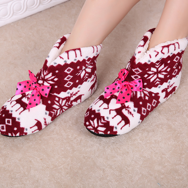 New Women s Winter Warm Cotton padded Shoes Soft Bottom Non slip Lndoor Boots Snowflake Deer