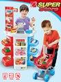 Armario de cozinha Play house toy supermercado caja registradora cesta estante conjunto divertido juguete juego de imaginación imitar cajera vendedora niños