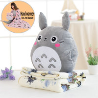 Japan Totoro Plush Pillow With Soft Flannel blanket Stuffed hand Warmer Stuffed Toys for children Bedroom Cushion for Girlfriend