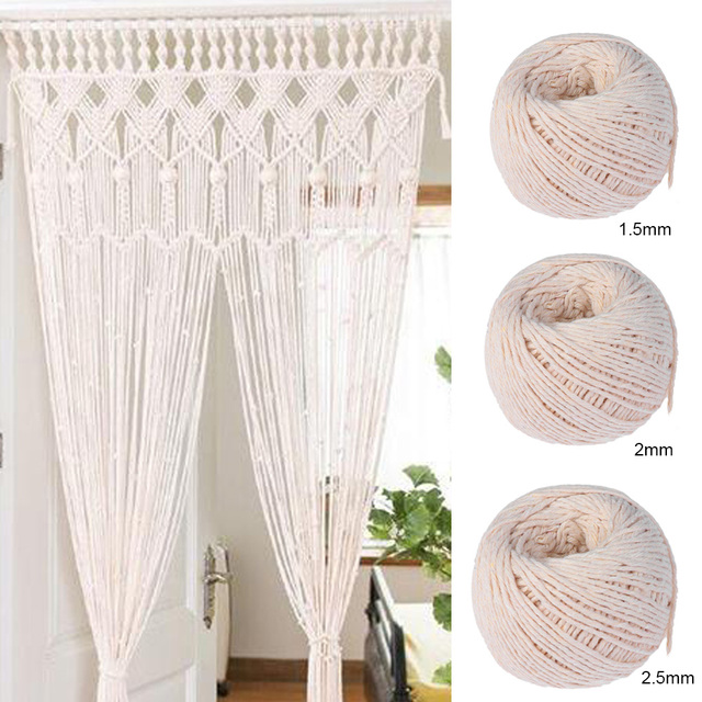 High Quality 100% Natural Beige Cotton Twisted Cord Crafts Macrame Artisan String DIY Home Decor Handmade Christmas Gift Packing