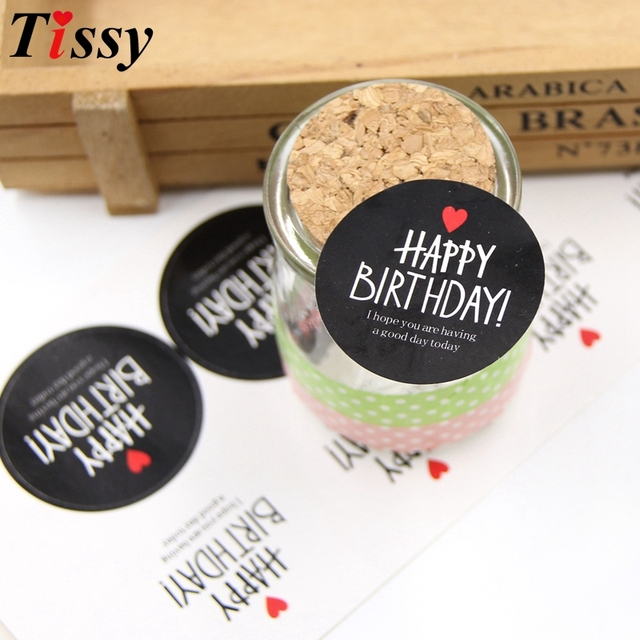 80PCS Lot 45CM WhiteBlack Happy Birthday Paper Gift Tags Stickers Party Favors Accessories DIY Biscuit Gifts Wrapping Supplies
