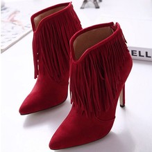 2016 New Arrival Winter Fashion Women's Black Ankle Boots Pointed Toe Thin Heels High-heeled Simple Tassel Martin Boots