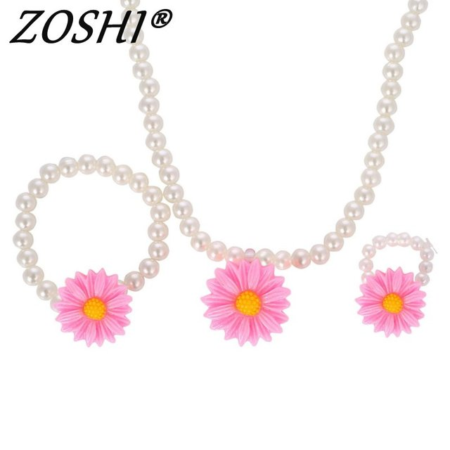 Simulated pearl beads resin plastic kids jewelry set for children simulated pearl beads resin plastic kids jewelry set for children flower pendants necklace bracelet ring earrings mozeypictures Gallery
