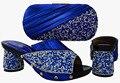 Sapatas de harmonização Italianas e sacos de alta classe set festa senhora sapatos e bolsa de definir com strass azul royal cor PUW1-3