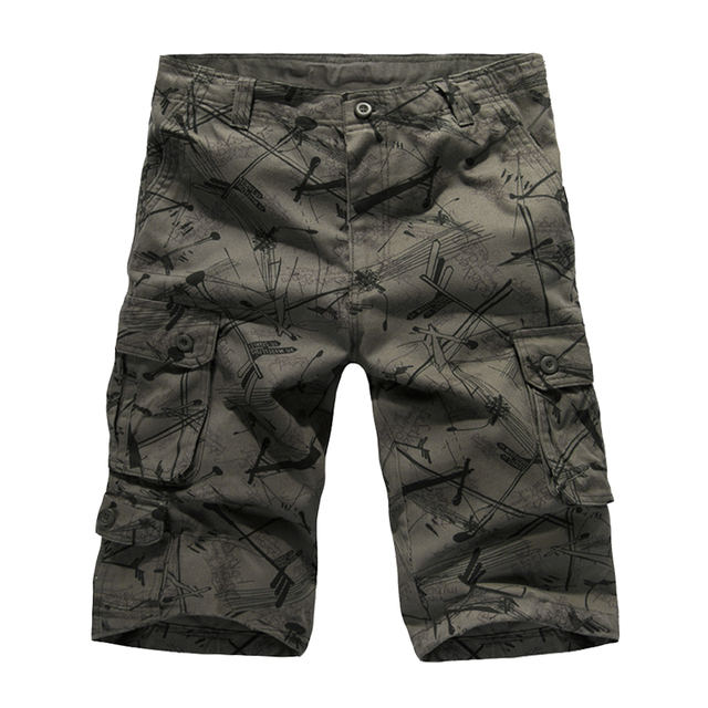 c9ca1ad24c new mens summer printed washed cotton twilled baggy multi-pockets cargo  shorts loose fit below