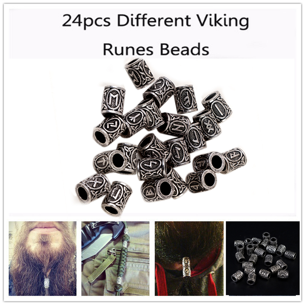 24pcs Viking Runes Beads DIY Accessory Charms Beads Findings for Bracelets for Pendant Necklace Beard or Hair Vikings Rune Kits 1pc unique personalized viking thor s hammer beads choker necklace with 5 viking rune beads diy available