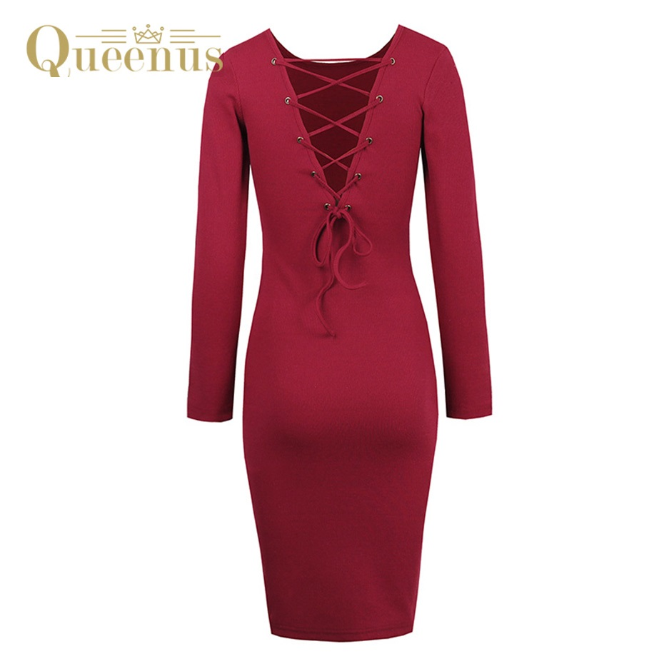 цена на Queenus Autumn Winter Women Knitted Dress Round Neck Knee Length Backless Lace Up Full Sleeve Burgundy Lady Sweater Dresses
