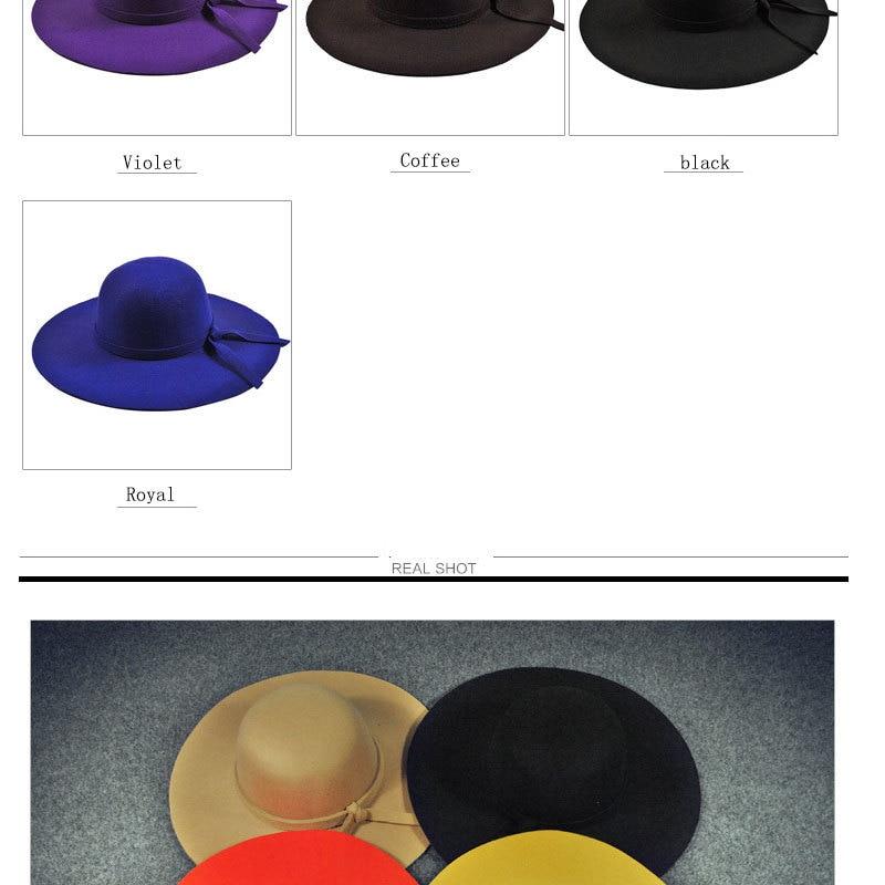 6b0d53cf5f5 YIFEI New Pillbox Hat Women Wide Brim Felt Bowler Fedora Hat Floppy ...