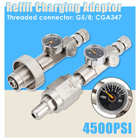 2 Sizes 4500PSI DIN Filling Refill Charging Adaptor Converter with Pressure Gauge