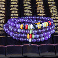 Pure Natural Amethyst 108 Agate Beads Six Words Bracelets Jewelry Tibetan Buddhist Buddha Meditation Prayer Beads