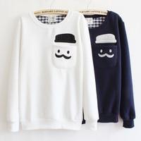 Female Japanese Fashion Killa Harajuku Sweatshirt New Autumn Winter Fleece Hat Pockets Mustache Print Coat Women