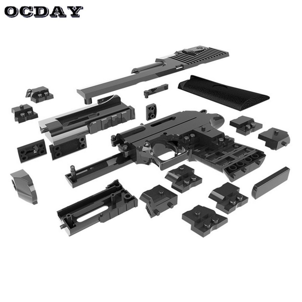 DIY Building Blocks Toy Gun Desert Eagle Assembly Toy Puzzle Play Puzzle Play Game Model Can Fire Bullets Gun Toys for Kids Gift