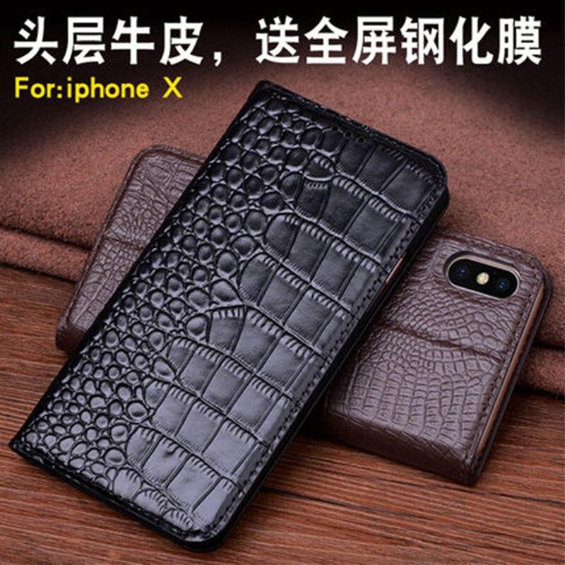 Personnalisé 2017 Nouveau Grain de Crocodile Cas de Téléphone pour Apple iPhone X 5.8 couverture pour iPhone7 & 8 Véritable En Cuir Téléphone Sac pour 7 plus 8 p