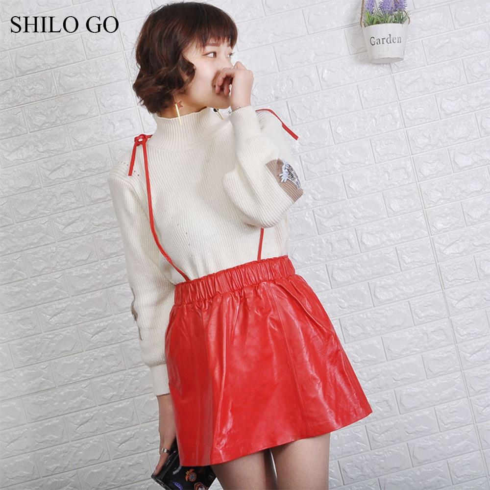 SHILO GO кожаное платье Женская Весенняя мода Овчина натуральная кожа платье Спагетти ремень стрейч талия повседневное свободное платье
