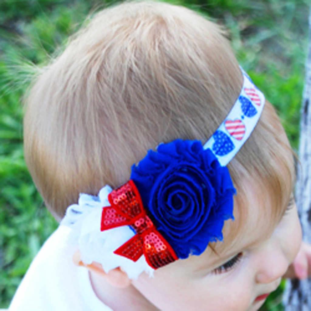 MUQGEW เด็ก Hairbands เด็กหญิง 4th กรกฎาคม Hairband วันธงอุปกรณ์เสริมสำหรับสาว Headwear เด็กทารก Hairband