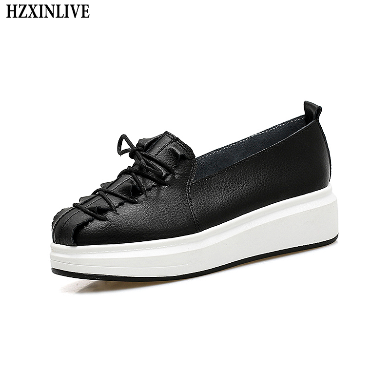 HZXINLIVE 2018 Women Genuine Leather Flat Shoes Solid White Platform Shoes Ladies Slip-on Loafers Female Fashion Casual Footwear fashion loafers women flat platform shoes moccasins air mesh round toe ladies footwear women summer casual shoes female dc64