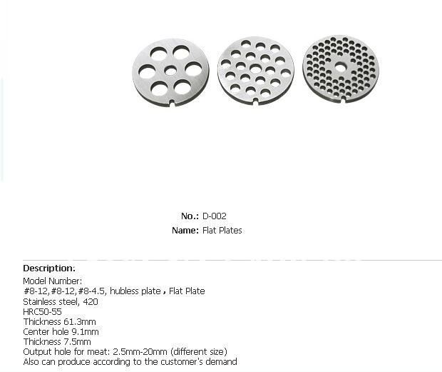 free ship 8# flat plate for meat grinder, spare parts for meat ...