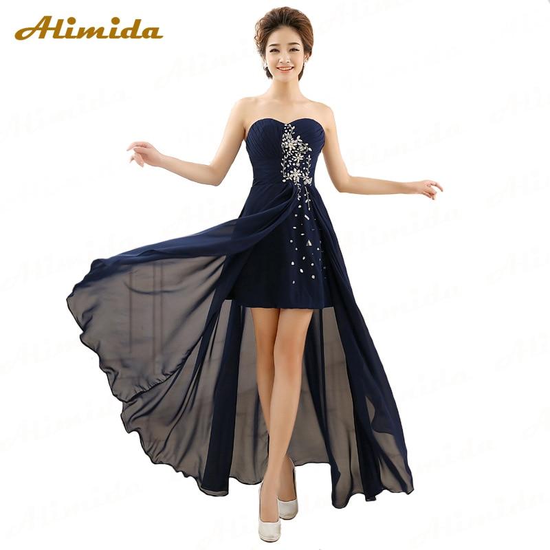 ALIMIDA Short Front Long Black Evening Dress 2017 New Elegant Evening Gowns Tailor-made Plus Size Robe Longue Femme Soiree