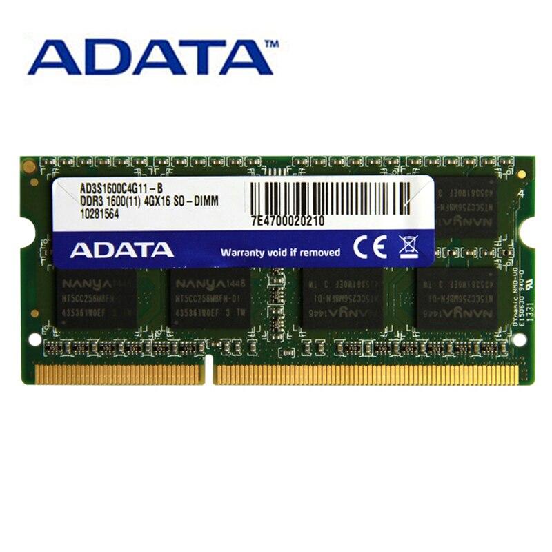 Ram 1.35 da memória de adata ddr3 ddr3l 1.5 v SO-DIMM v 1333 2 gb 4 gb 8 mhz 1600 mhz PC3-12800 mhz para carneiros do portátil do thinkpad acer do caderno