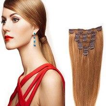 10PCS 120G Golden Brown #12 16″-26″ Full Head Clip In Human Hair Extensions Brazilian Virgin Hair Wavy Clip In Hair Extensions