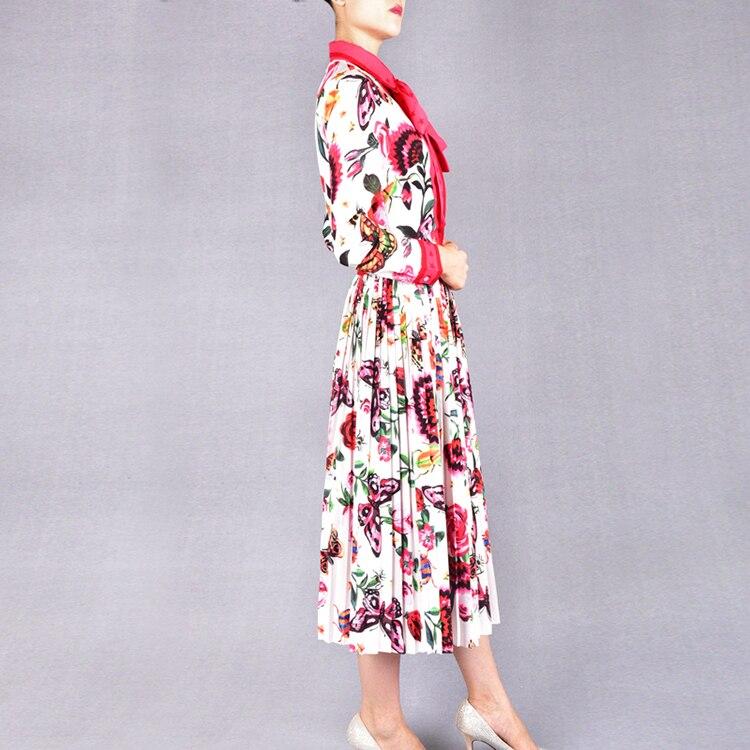 Douce De Automne Mode Costumes Des Jupe La Grand Qualité Et Atmosphère Le Arc Etats Europe Plissée Féminine Blouse Modèle Impression Petite qf0xSUYxz