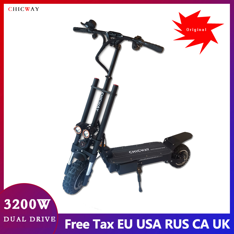 """CHICWAY Batman double drive Electric Scooter 11"""" 3200W motor,speed 80km/+,Independent suspension,hydraulic shock absorber, 35AH"""