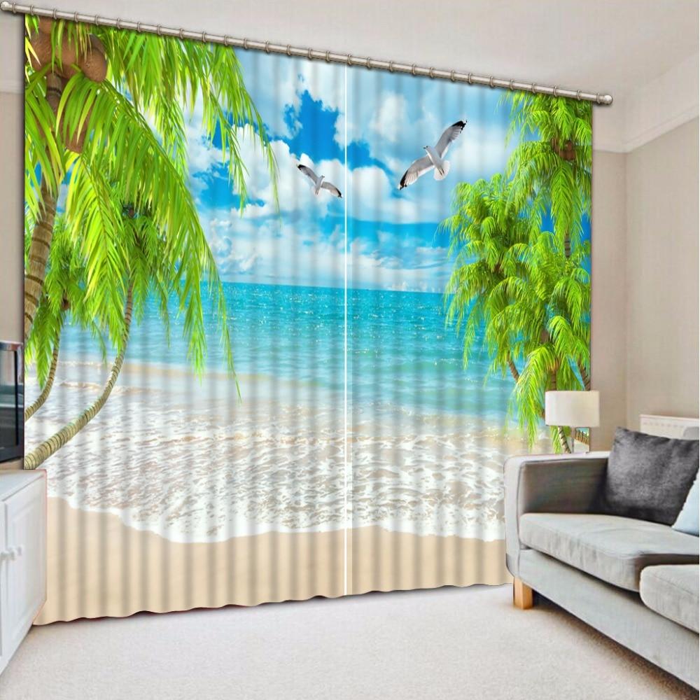 3D Curtain Fashion Customized Beach Leaves Curtains For Bedroom New Custom 3D Beautiful Blackout Shade Window 3D Curtain