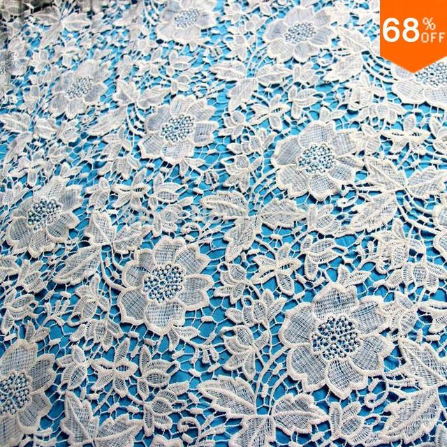 White Flower Leaf Dress Fabric Party Fabric Item Luxury Home Textile