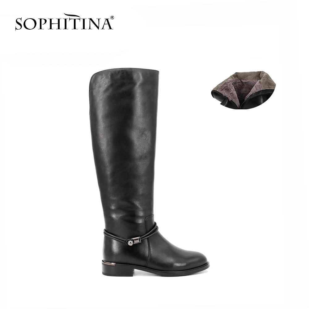 SOPHITINA Brand Shoes Women Luxury Full Leather Knee High Boots Winter Keep Warm Wool Zipper Cow