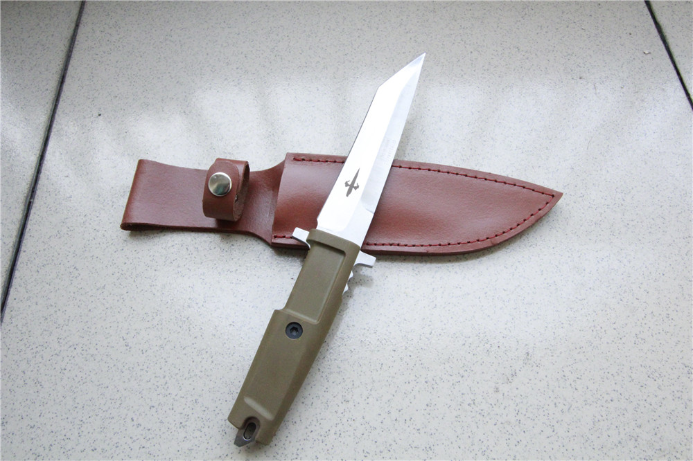 7cr17 steel real knifes hunting small folding unique shape outdoor survival straight knife rubber handle 55-57 HRC Comfortable