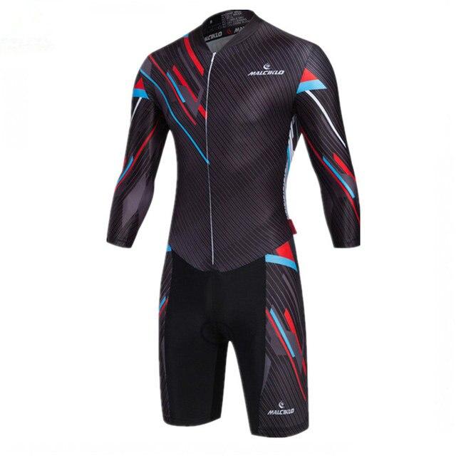 Conjunto de Ciclismo negro manga larga Skinsuit 2018 Ciclismo Jersey alta  tela Ropa Ciclismo Maillot Ropa a0d332f9b