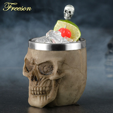 Ужасная чашка из смолы и нержавеющей стали с черепом 200 мл рюмка Готическая пивная кружка водка стакан для виски es бар посуда для напитков подарок на Хэллоуин