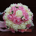 2016 Em Stock Dama de honra de Casamento Romântico Rosa Beading Flores Artificiais Bouquets de Noiva Handmade Bouquets De Casamento Roxo/Rosa