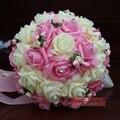 2016 En Stock Romántica Boda de dama de Honor Rosa Rebordear Flores Artificiales Ramos de Novia Ramos de Boda Hecho A Mano Púrpura/Color de Rosa