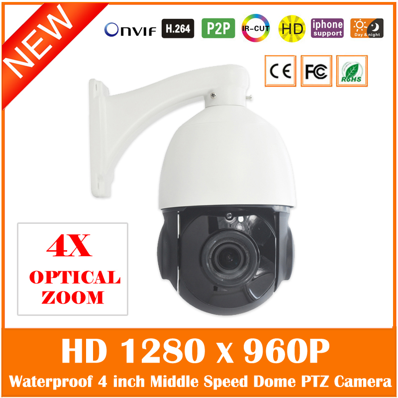 Mini 4 Inch Middle Speed Dome Ip Camera 4x Zoom Hd 960p Pan/tilt Outdoor Night Vision Waterproof Mobile Monitor Cctv Hot Sale