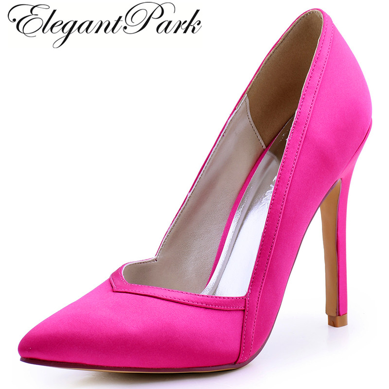 Woman Hot Pink High Heels Wedding Shoes Pointed Toe Satin Bride Bridesmaid Bridal Prom Evening Party Pumps HC1603 Navy Blue Teal