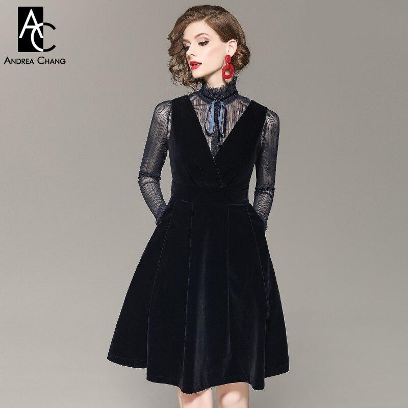 Transparente Encima De Moda Dulce Vestido La Rodilla Azul Oscuro Lazo Primavera Collar Lindo Tapa Otoño Por Mujer Cinta PEgZq0wwx