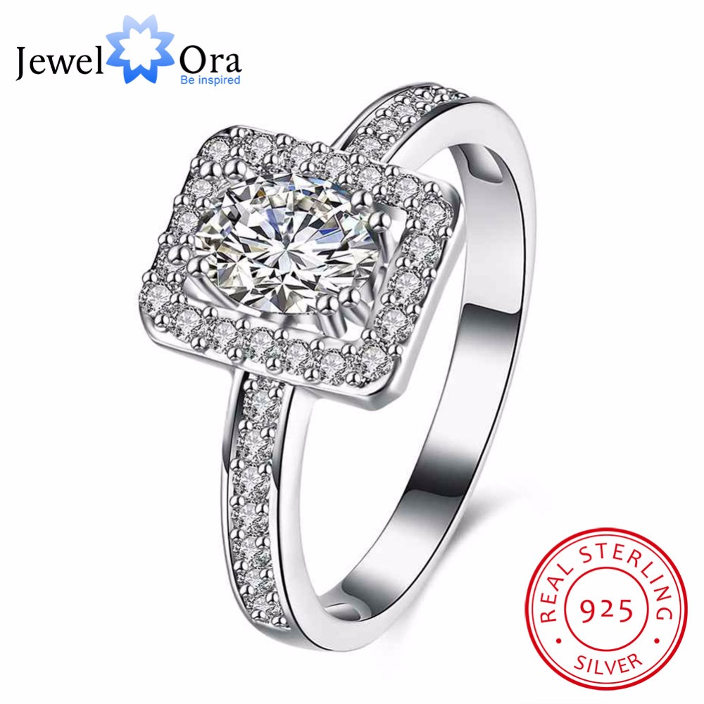 Solid 925 Sterling Silver Engagement Ring Luxurious Female Jewelry Fashion Cubic Zirconia Rings For Women (JewelOra RI102639)