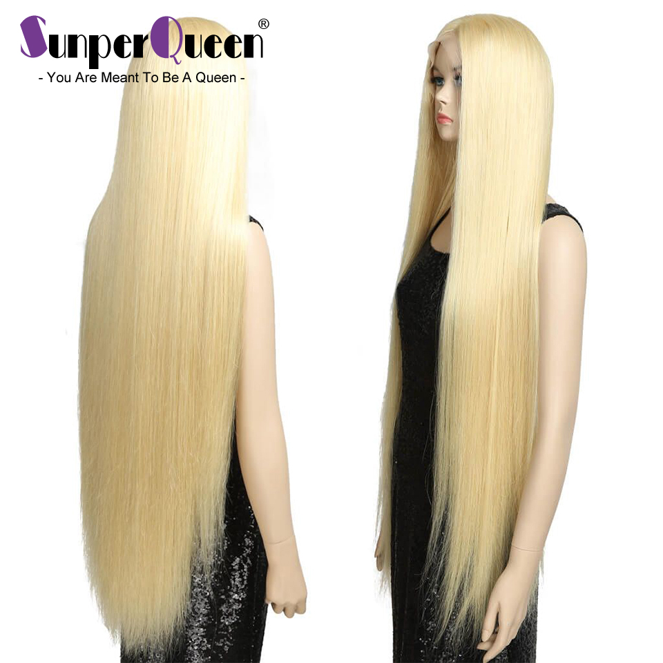 Wigs Human-Hair Lace Transparent Straight Long with Pre-Plucked Swiss Virgin-Blond