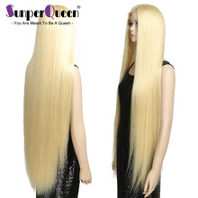 38 Inch long Full Lace Human Hair Wigs With Transparent Lace Pre Plucked Straight Swiss Lace Virgin Blond #613 Color(China)